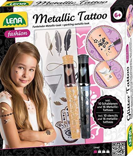 Lena 42441 Fashion Tattoo, Mode Set zum Stylen und Schmücken mit 10 Schablonen und 2 Glitzerstiften, Körperschmuck mit 16 Metallic Tatttoos für Kinder ab 6 Jahre, Bunt
