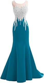 Mermaid Evening Dress for Women Formal Lace Appliques Long Prom Dress