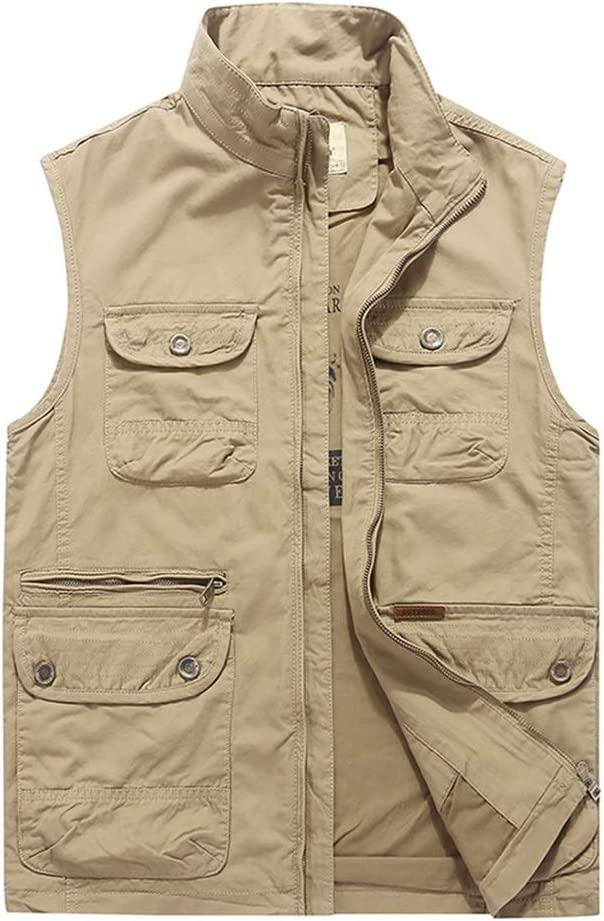 Shi xiang shop Loose Stand Collar Mens Vest, Work Vest with Multi-Pocket for Men, Men's Outdoor Casual Sleeveless Jacket (Color : Khaki, Size : 5XL)