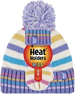Heat Holders Girls Jacquard Beanie Hat with Pom Pom & Mittens. Purple stripe, 3-6 years old