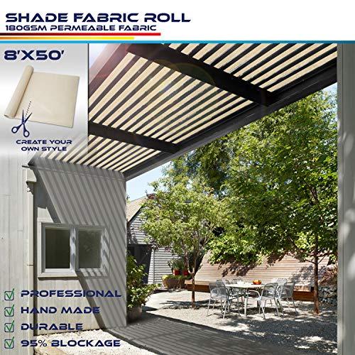 Windscreen4less Beige Sunblock Shade Cloth,95% UV Block Shade Fabric Roll 8ft x 50ft