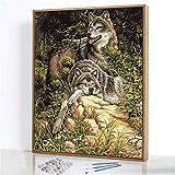 GJJHR DIY Pintura por Números Kits,Lobo Salvaje Pintada a Mano Pintura al óLeo Digital, DecoracióN del Hogar Regalo - 40x50cm(Sin Marco)