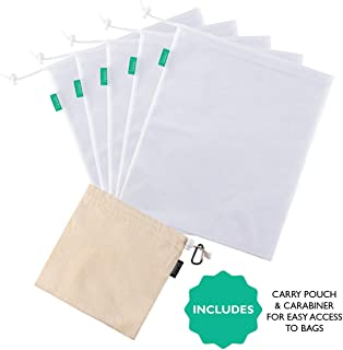 Cedara Living - 5 x Reusable Produce Bags With Bonus Cotton Pouch and Carabiner - Eco Friendly Product - Bulk Food Bags For Fruit and Vegetable Produce - Fine Mesh Bag Doubles As Nut Milk Bag, Delicate Washing Bag and Storage Bag