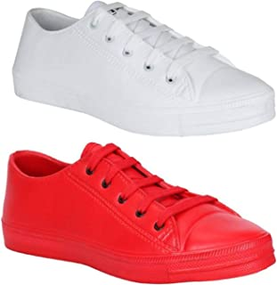 JBF CANDICO Tennis Red & White Shoes for Men (Combo of 2 Shoes)