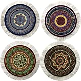 Inusitus Set of 4 Round Coasters - Rug Table Drink Holders - Oriental Design Fabric Elegant Carpets (Set-1)