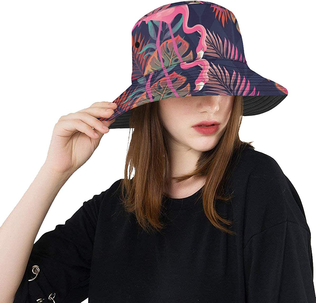 Colorful Beach Hat Tropical Rainforest Colorful Palm Trees Summer Unisex Fishing Sun Top Bucket Hats for Teens Women Fisherman Cap Outdoor Sport Funny Beach Hat
