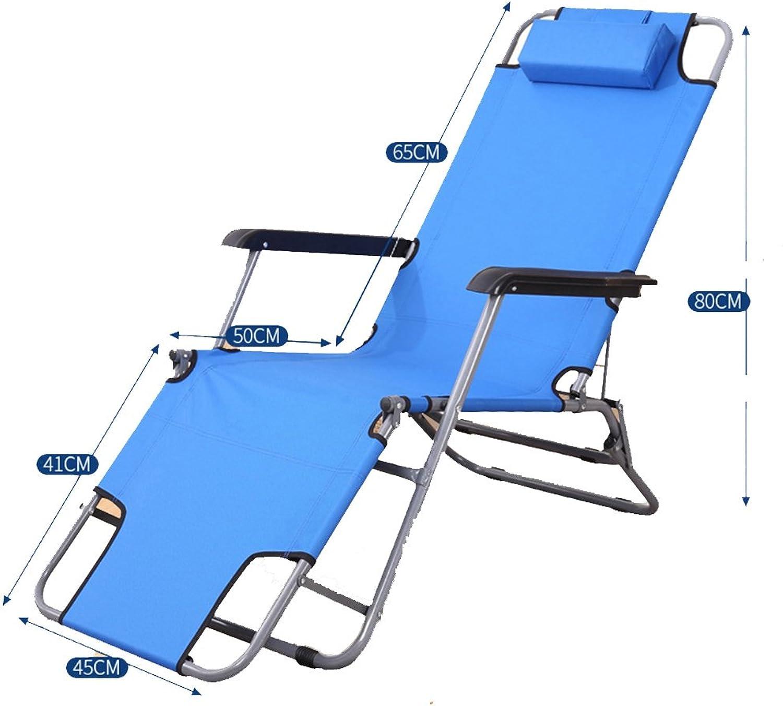 Lyqqqq Summer Recliner Folding Chair Balcony Office Lunch Break Chair Beach Chair Lazy Chair Chair (color   bluee)