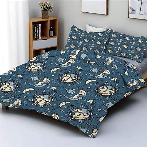 Juego de funda nórdica, Folkloric Ethnic Ornate Night Festive Sleeping Cosmos Galaxy DecorativeDecorative Juego de cama de 3 piezas con 2 fundas de almohada, pizarra azul crema azul claro, el mejor re