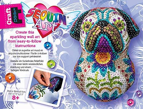 MAMMUT 8311707 - Sequin Art Teen Craft, 3D Paillettenfigur Mops, Hund, Bastelset mit Styropor-Figur, Acrylfarbe, Pinsel, Pailletten, Steckstiften und Anleitung, für Kinder ab 8 Jahre