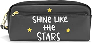 ALAZA Shine Like The Stars Pencil Case Zipper PU Leather Pen Bag Cosmetic Makeup Bag Pen Stationery Pouch Bag Large Capacity