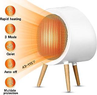 MKWEY Calefactor Eléctrico Cerámico PTC Portátil 1000W, Ventilador de Calefactor Personal, Protección de Sobrecalentamiento y Volcado, Viento Caliente o Natural, para Hogar y Oficina
