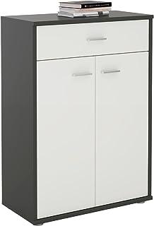 IDIMEX Buffet Calais, Commode Meuble de Rangement avec 1 tiroir et 2 Portes, en mélaminé Gris Mat et Blanc Mat