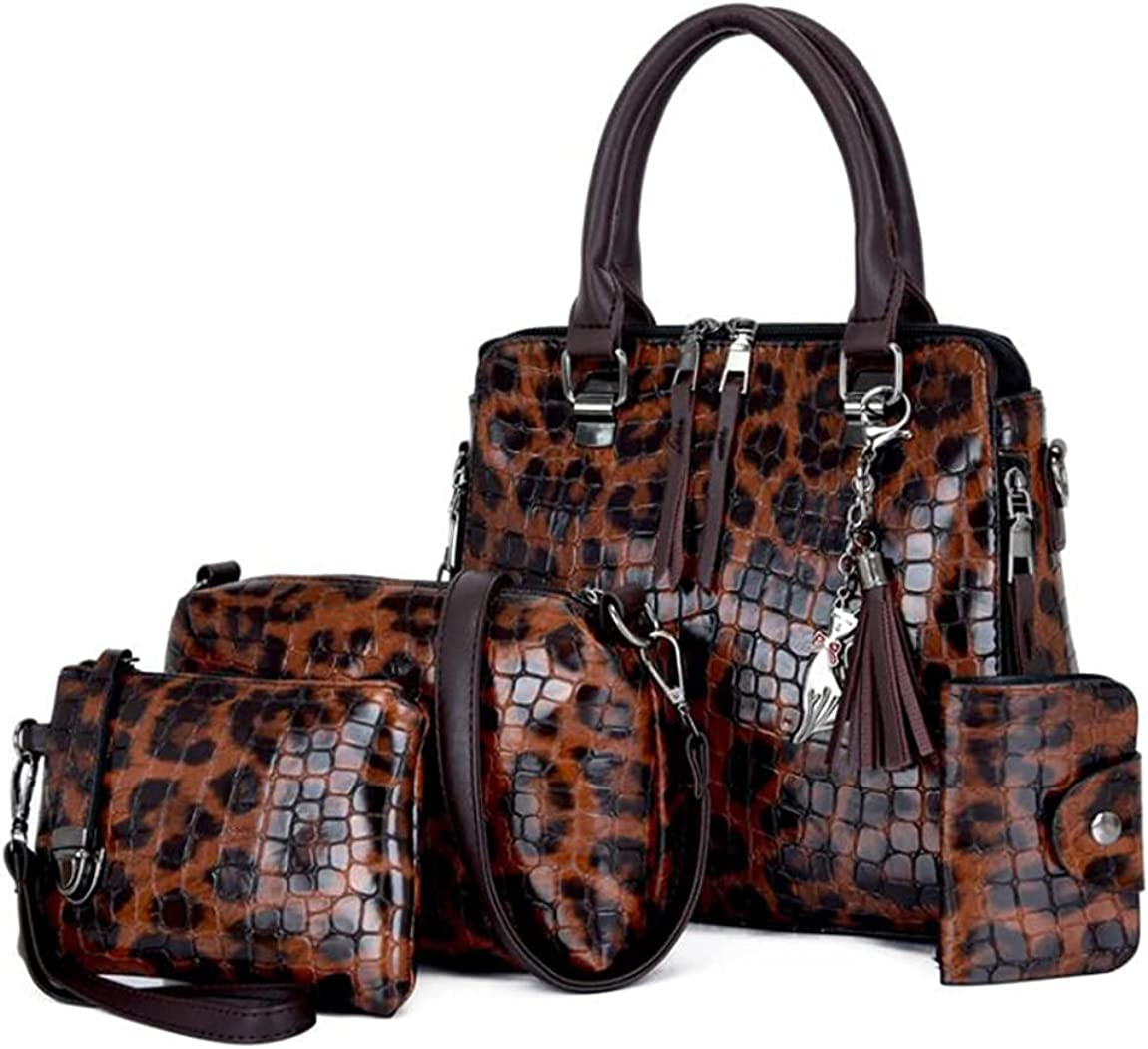 GJGJTER Synthetic PU Leather Tote for Women 4PCS atchel Crossbody Hobo Top-Handle Handbags Premium Adjustable Strap