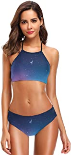 Women's Two Piece Bikini Swimsuits,Beautiful Snowy Mountains Aurora Borealis