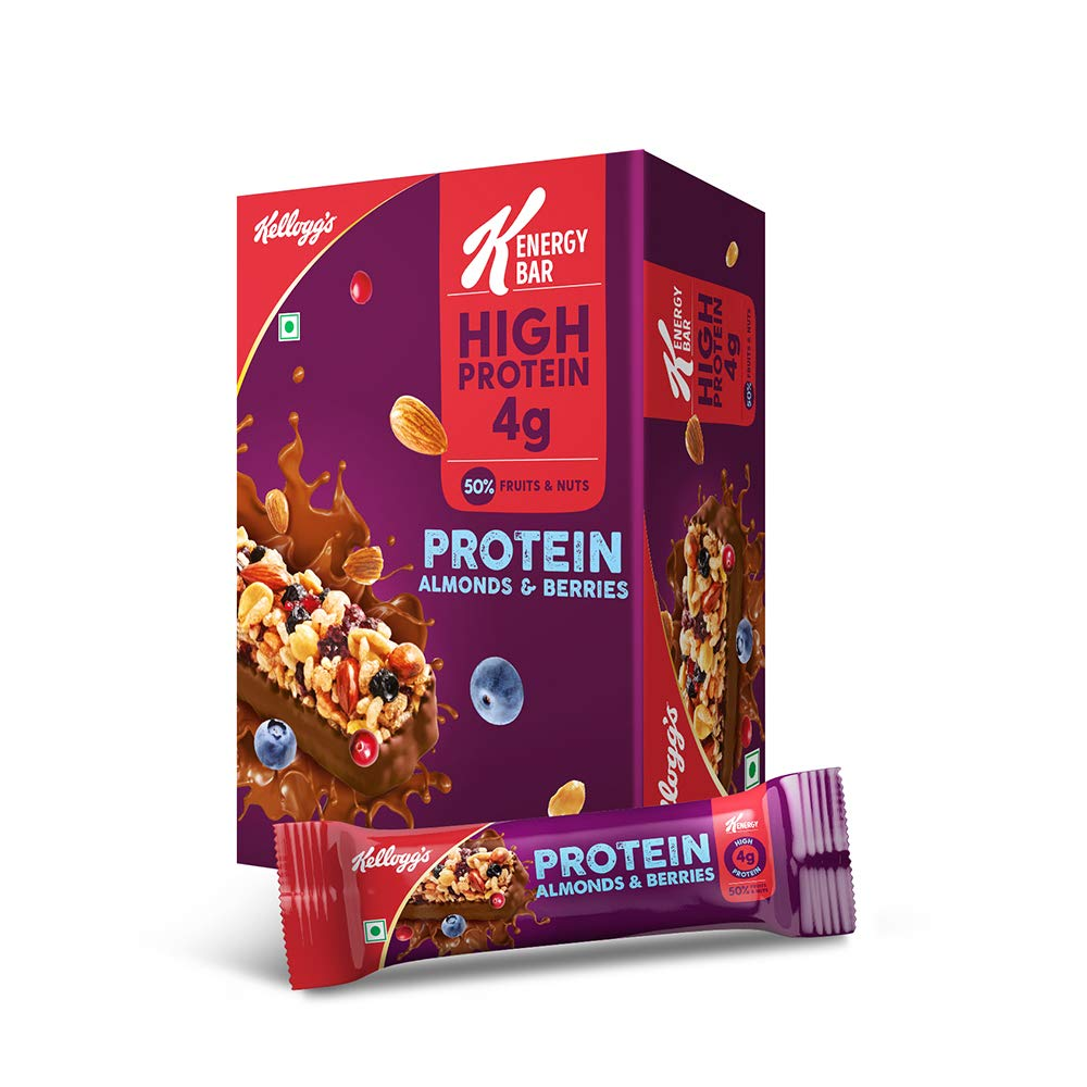 Kellogg's Kellogg's K-Energy Bar Protein Almonds & Berries 360g (or gx12) with 50% Nuts & Fruits and High Protein, 30…