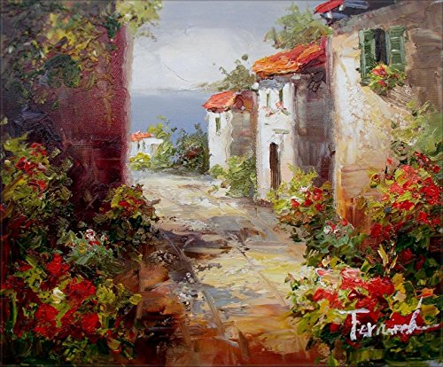 100% Hand Painted Cottages in Tuscany Italy Canvas Oil Painting for Home Wall Art by Well Known Artist, Framed, Ready to Hang