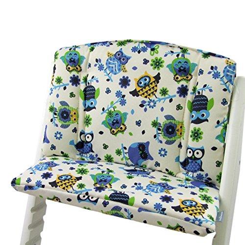 Babys-Dreams zitkussen pad zitkussenset voor stokken Tripp Trap hoge stoel (Beige Blauw/Green Uulen$10)
