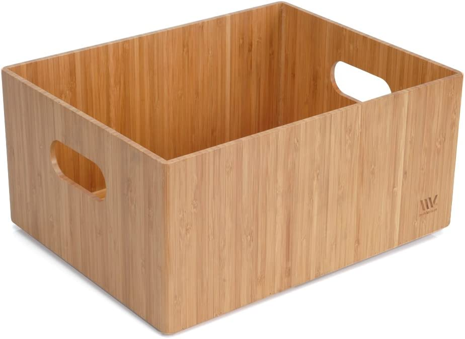 """Bamboo Storage Box 14""""x11""""x 6.5"""" Handles Durable Bin w Be super SEAL limited product welcome Stack"""