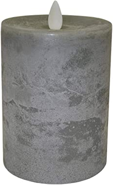 "Raz Imports 3.5""X5"" Moving Flame Grey Chalky Pillar Candle - Flameless Lighting Accent and Battery Operated Flickering Light Source with Timer - Fake Candles for Living Room, Patio and Bedroom"