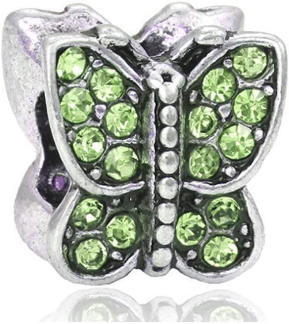 Green Crystal Butterfly Charm Bead