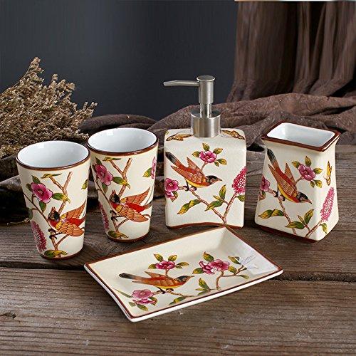 Keramik Seife-flasche,Dusche dispenser,Set Waschbecken zubehör Seife flaschen Gel-duschkabine Shampoo box-A