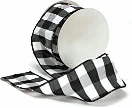 Cheshire Wired Edged Black and White Dupioni Striped Ribbon 2 1/2
