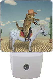 Plug in Night Light Cat Cowboy On Horse Lamp Ultra-Slim, Cool-Touch Dusk to Dawn Sensor LED Nightlight Smart Light Automatically Lights for Kids Adults and Nursery Decor Night Light