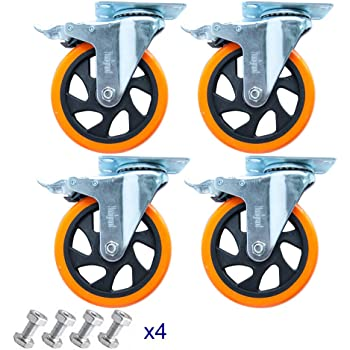 """5"""" Swivel Casters Wheels with Screw Safety Dual Locking and Polyurethane Foam No Noise Wheels,Heavy Duty-550 Lbs Per Caster"""