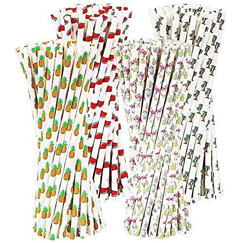 Cannucce di Carta da 100 Pezzi, Cannucce per Feste Cannucce Biodegradabili Riciclabili, Cannucce Hawaiane per Succhi,Cocktail, Frullati, Compleanni, Colori Assortiti per Matrimoni