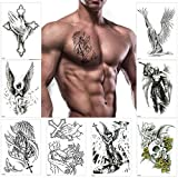✅Very Real: Mens Temporary Tattoo were actually pretty large and looked super realistic both on paper and on skin,you can place them directly on your body, such as your arm, back, or shoulder,No one will know it's fake. ✅Easy to Apply: In 10-20 secon...