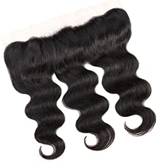 LUKEEXIN 4 * 13inch Peruvian Body Wave Full Lace Frontal Closure With Bundles Human Hair Extensions Lace Frontal Natural Color (Color : Black, Size : 8 inch)