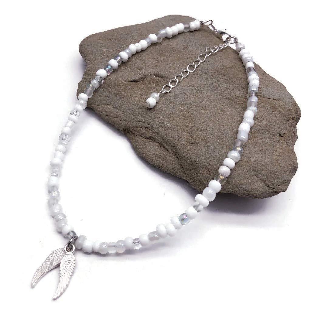 Plus Size 5 popular Angel Max 61% OFF Wings Charm Anklet Mix Seed White Glass - Bead