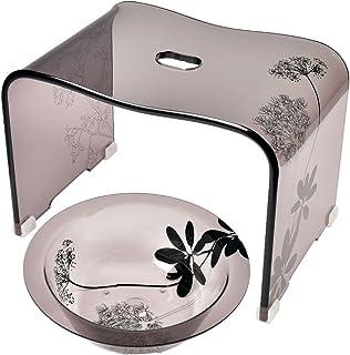アクリルバスチェア ウォッシュボールセット アクリル製 お風呂椅子 湯桶 (高さ25cm, リーフ柄×ブラウン)