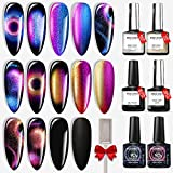 Modelones Gel Nail Polish- 9D Cat Eye Gel Polish Chameleon Magnetic Glitter Black LED Nail Gel Polish Base Matte Top Coat Gel Top Coat with Gift Box for Nail Art Manicure Use at Home 6 Pcs 10ml