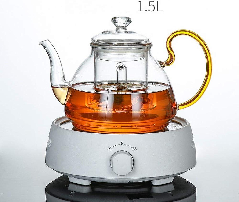 SGXDM Fleur théière Verre Bulle Fruits Coupe Ensemble ménager électrique cuisinière en céramique théière Haute température Chauffage après-midi Ensemble de thé, G