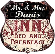 "Mr & Mrs Davis INN Bed & Breakfast Custom Personalized Chic Tin Sign Vintage Retro 11.5""x 11.5"" Shield Metal Plate Store Home Man cave Decor Funny Gift Ideas"