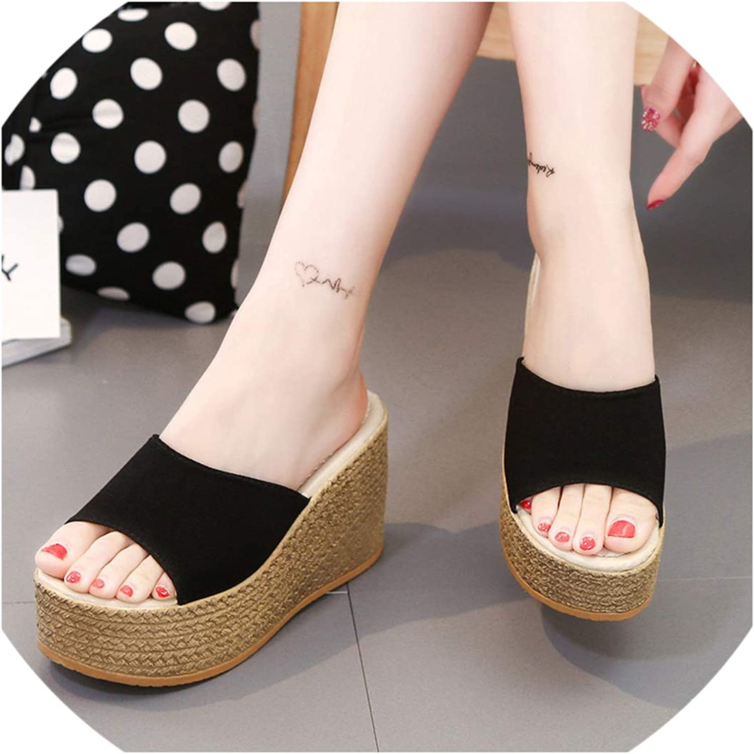 Platform Wedges shoes Women Slippers Open Peep Toes Slippers Women Slides Sandals,Black,8.5