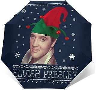 Elvish Presley Elvis Christmas Knit Windproof Compact Auto Open And Close Folding Umbrella,Automatic Foldable Travel Parasol Umbrella
