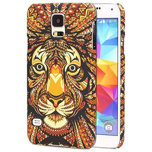 Urcover Custodia Compatibile con Samsung Galaxy S5 Tatoo Back Cover Rigida policarbonato Anti-Scratch Protezione Retro Arte Animali Multicolore Case - Disegni Tigre
