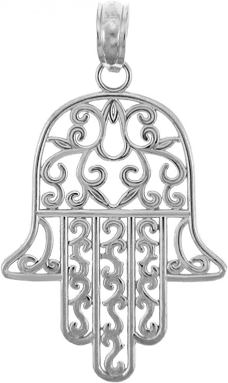 925 Sterling Silver Jewish Atlanta Mall Max 56% OFF Hamesh Charm Pend Filigree Hamsa Hand