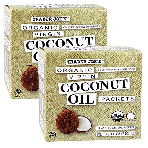 Trader Joes Organic Coconut Oil Packets, 2-Pack (28 packets) Virgin Coconut Oil. Essential Fatty Acid Supplement