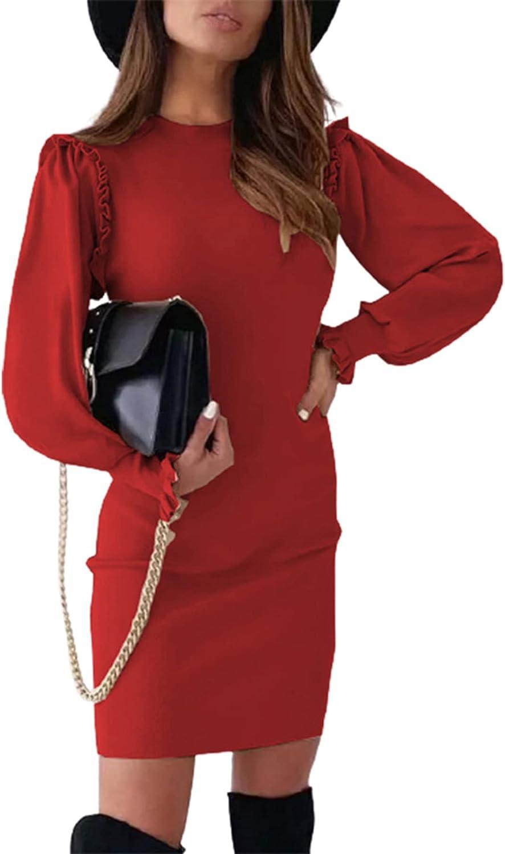 SYOT Women's Long Sleeve Crewneck Mini Dress Solid Color Slim Evening Lotus Sleeve Short Dresses