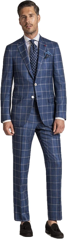 Men's Suits Blue Check Casual Blazer 2 Pieces Set Formal Jackets Pants Wedding Blazer Party Slim fit