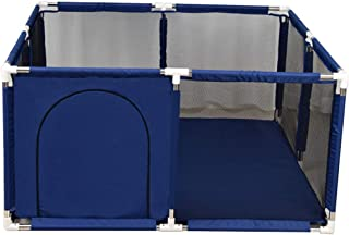 WJSW Kids Activity Centre 8-Panel Baby Playpen Portable Square Toddlers Playpen Playard Kids Safety Play Activity Center Home Indoor Fence Anti-Fall Play Pen with Door Blue 128cmx66cm Safety