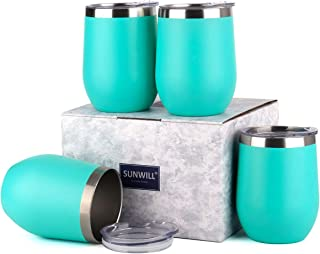 SUNWILL Insulated Wine Tumbler with Lid Teal 4 pack, Double Wall Stainless Steel Stemless Insulated Wine Glass 12oz, Durable Insulated Coffee Mug, for Champaign, Cocktail, Beer, Office