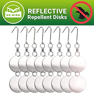 De-Bird Repellent Disks - Bird Proof Your Property in Minutes from Woodpeckers, Pigeons, Grackles and More - Reflective Discs Make Attractive Hanging Reflectors for Windows and Trees - 8 Pack Set