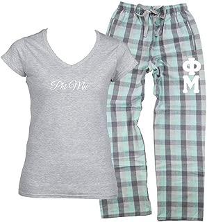Phi Mu Pajama Pants (Stitched Greek Letters) and Phi Mu Shirt (2 Piece Pajama Set)