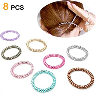 Spiral Hair Ties, High Toughness Spiral Telephone Hair Ties, 8Pcs Coil Hair Ties, Telephone Wire Headband, Phone Cord Hair Ties (Fluorescent Series)