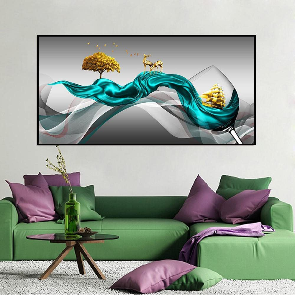 HXLZGFV Wine Glass Canvas Abstract Painting Fees free!! wholesale Deer A Wall Sailboat