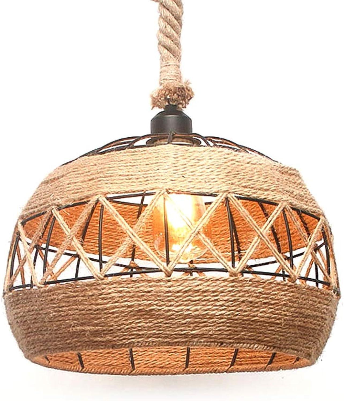 Vintage Runde LED Kronleuchter Retro Hanfseil Dekoration Pendelleuchte Nordic Esszimmer Hngen Licht